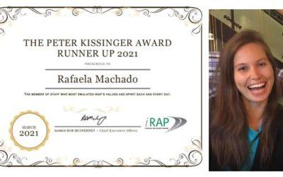 2021 iRAP Peter Kissinger Subcampeón Premio al Coordinador del Programa Global SR4S